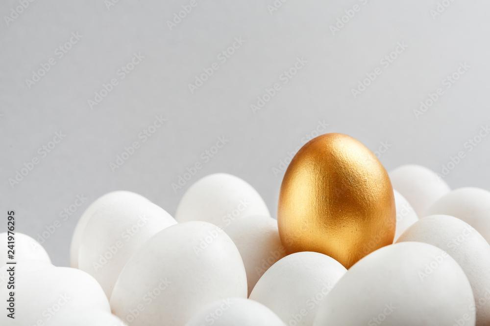 Fototapeta One golden egg among white eggs on gray background.