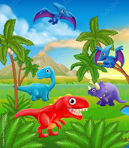 Tuinposter Dinosaurs A dinosaur cartoon cute animal background prehistoric landscape scene.