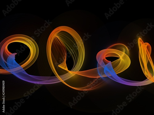 Abstract Colorful Neon Smoke Wave Lights On Black Background