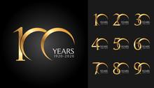 Set Of Anniversary Badges. Gol...