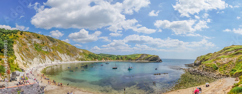 panorama view over the lulworth cove, uk. Wallpaper Mural