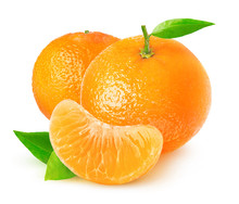 Isolated Citrus Fruits. Tangerines On White Background With Clipping Path