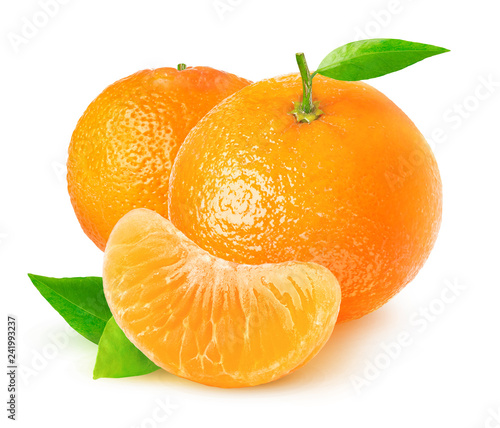 Isolated citrus fruits. Tangerines on white background with clipping path Wall mural