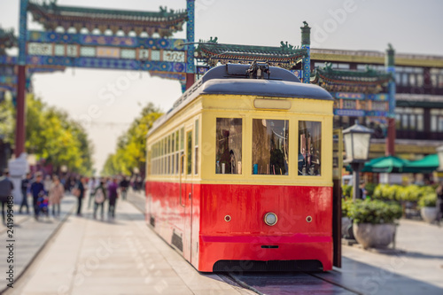 Chinese retro tram in the center of Beijing