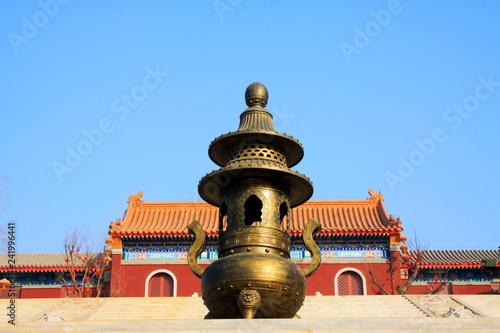 Fotografie, Obraz  bronze incense burner in a temple