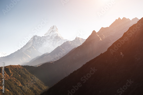 фотография  View of Mount Ama Dablam at sunrise in Himalayas, Nepal