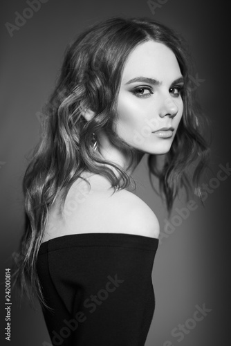 Deurstickers womenART Fashion portrait of young lady in black dress