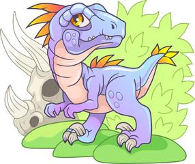 Cartoon cute prehistoric dinosaur velociraptor, funny illustration