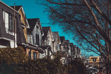 Row Of Colorful Residential Houses In Queens, NY