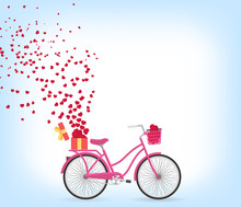 Illustration Of Love And Valentine Day. Heart, Gift And Pink Bicycle Vector.  Blue Background