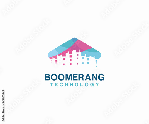 Photo Boomerang Technology logo vector. Technology logo template