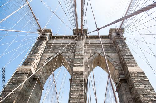 Fototapety, obrazy: Detail of brooklyn bridge in new york