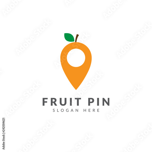 Orange pin logo template vector design with pin map and orange fruit - 242004621