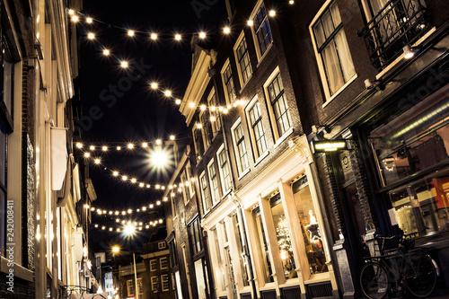 Photo  Night Amsterdam with night lights