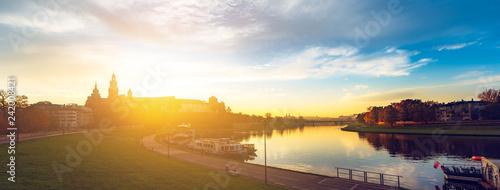 In de dag Europa Wawel by morning - panoramic