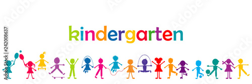 Fotografia Kindergarten banner with colored kids
