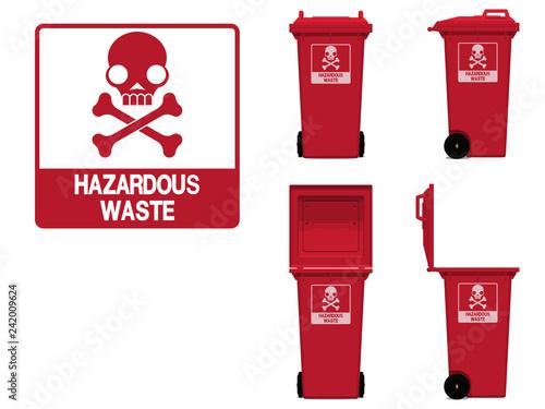 Fotografie, Obraz  hazardous waste icon and bin on transparent background