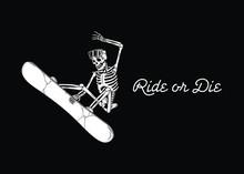 SKELETON SNOWBOARDER RIDE OR D...
