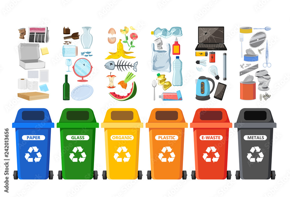 Fototapeta Rubbish bins for recycling different types of waste. Garbage containers for trash sorted by plastic, organic, e-waste, metal, glass, paper. Vector illustration