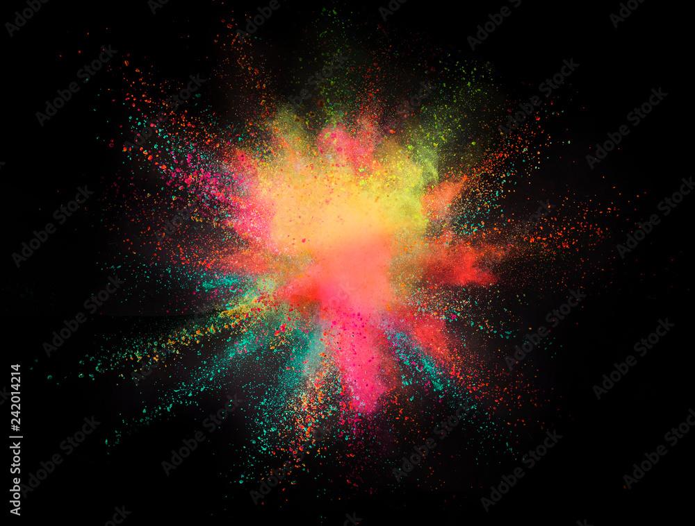 Fototapeta Explosion of colored powder on black background - obraz na płótnie