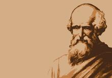 Portrait D'Archimède, Célèbre Scientifique Et Mathématicien De La Grèce Antique Avec Le Fameux Eurêka.