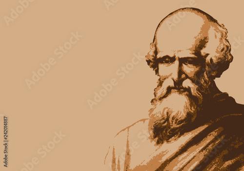 Portrait d'Archimède, célèbre scientifique et mathématicien de la Grèce antique avec le fameux Eurêka Canvas Print
