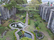 Beautiful Aerial View Of The Cartago Ruins And Gardens In Costa Rica