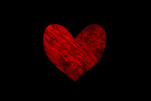 Dark Red Painted Heart On A Black Background