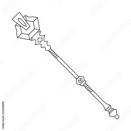 Staff Icon Isolated On White Background Magic Weapon Vector