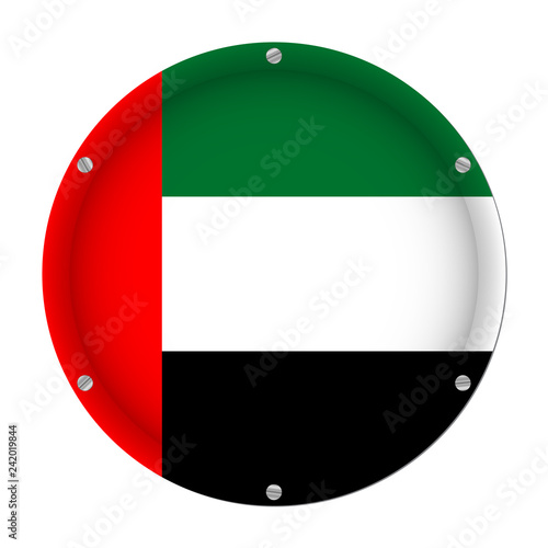 Fotografie, Obraz  round metal flag and screws - United Arab Emirates