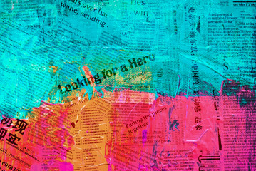 Digital created grunge background painting in bright colors of pink, turquoise and orange  with text fragments