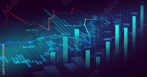 Fotomural  Stock market or forex trading graph in graphic concept
