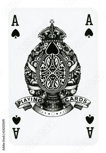 Photo  Ace of Spades playing card isolated on white (clipping path included)