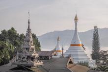 Phra That Doi Kong Mu, View Morning Of White Pagoda Myanmar Style Art With Misty Mountain Background, Wat Phra That Doi Kong Mu, Mae Hong Son, Northern Of Thailand.