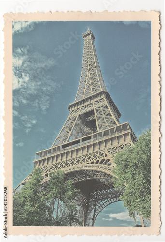 Photo Stands Paris Eiffel Tower - Paris - vintage photograph