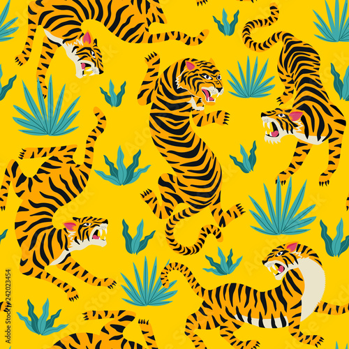 Vector seamless pattern with cute tigers on background Tableau sur Toile