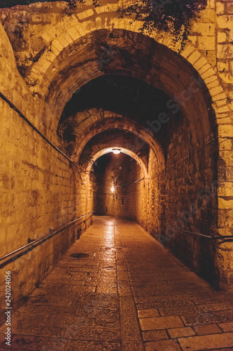 Canvas Prints Narrow alley Ancient streets and buildings in the old city of Jerusalem