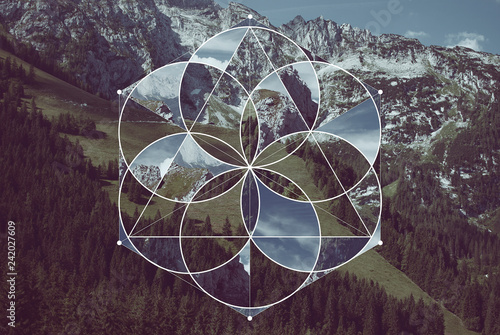 Foto Geometric collage with the mountains and sacred geometry