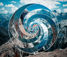 Collage With The Landscape And The Sacred Geometry Symbol Spiral