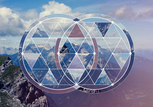 Geometric Collage With The Mountains And Forest