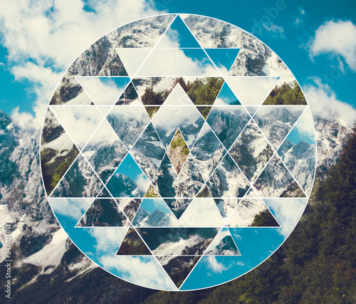 Canvastavla  Collage with the mountains landscape and the sacred geometry symbol shri yantra