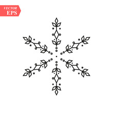 Vector Black Snowflake Icon. Snow Flake Simple Icons Isolated On White Background For Winter Design And Decoration
