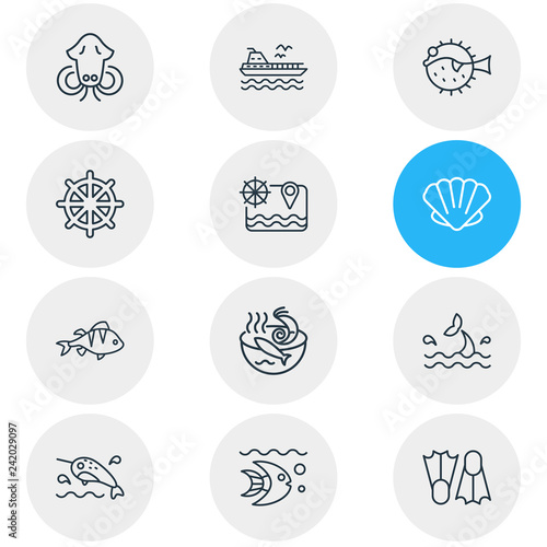 Fotografie, Obraz  Vector illustration of 12 marine icons line style