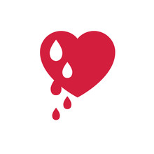 Vector Red Bleeding Heart For World Hemophilia Day, World Donor Day, Medical Concept, Heart Shape With Falling Drops Of Red Blood