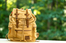 A Rustic Backpack On A Bright ...