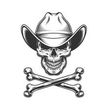 Vintage Monochrome Cowboy Skull And Crossbones