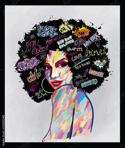 Stickers pour porte Art Studio portrait of an afro american woman face
