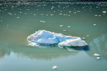 Large Iceberg And Many Tiny Pieces Floating And Melting Away In The Glacier Bay National Park In Alaska