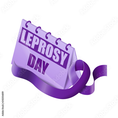 Fotografie, Obraz Isometric calendar leprosy day witch purple ribbon isolated