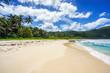 Beautiful tropical beach,palms,white sand,granite rocks,seychelles 23